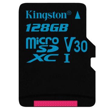 金士顿存储卡,128GBTF(MicroSD)存储卡U3C10V30专业版读速90MB/s支持4K终身保固