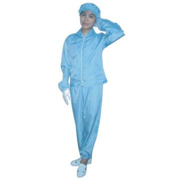 凌致0.5条纹防静电分体服 翻领拉链,蓝色LZ01002-1,S码 同型号系列起订量10套