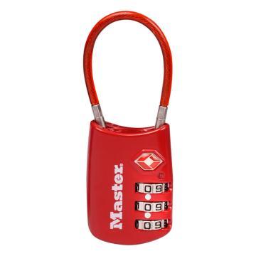 玛斯特锁MasterLock 20mm宽,3位可调密码锁,带柔性缆,红色,4688MCNRED