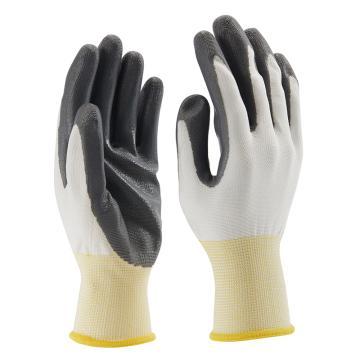 B&Z 丁腈涂层手套,6101-7,光面灰色丁腈涂层,12副/打