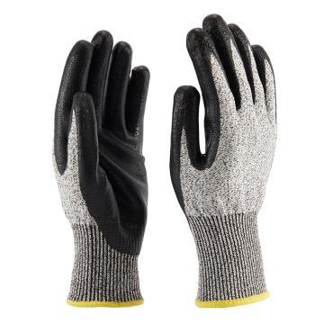 B&Z C级防割手套,6302-9,舒适款麻灰色手套黑色丁腈涂层耐切割