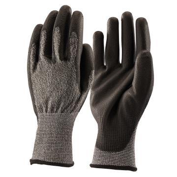 B&Z B级防割手套,6303-9,舒适款麻灰色手套灰色PU涂层