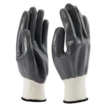 B&Z 丁腈涂层手套,6108-9,全光面灰色手套灰色涂层,12副/打