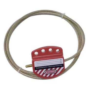 安赛瑞 可调节钢缆绳锁具,钢缆绳Φ6mm×1.8m,塑料锁体,红色,37039
