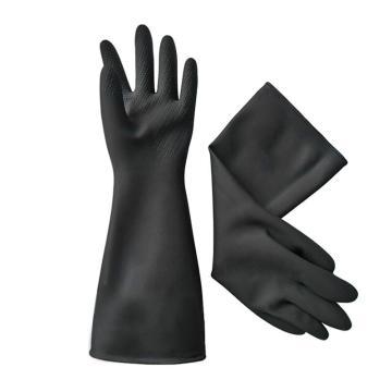 威蝶 乳胶防化手套,60cm,60A-1中厚,黑色