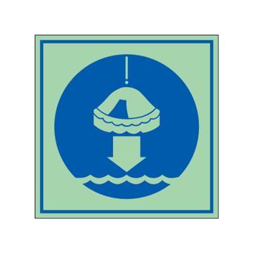 安赛瑞 船用IMO安全标识-将救生筏降至水面,自发光板,150×150mm,21036