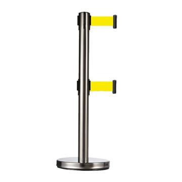 警士盾 不锈钢双层伸缩带隔离栏-底盘Ф310mm,高900mm,立杆Ф63mm,带长2m,织带黄色