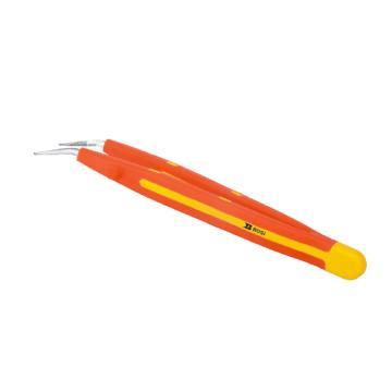波斯BOSI VDE绝缘弯尖横齿镊子,159mm,BS600215