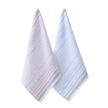 洁丽雅毛巾,方巾小毛巾儿童方巾 纯棉吸水条纹方巾6639 (颜色随机)
