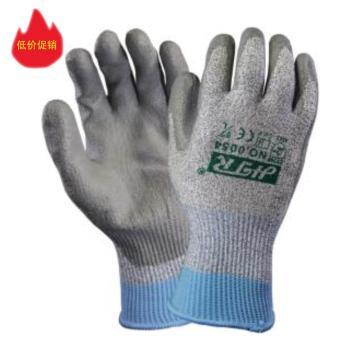 海太尔 5级防割手套,0054-9,针织手腕 PU涂层 灰色