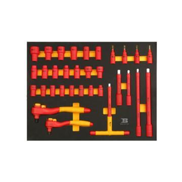 波斯BOSI 32件套筒类工具托组套(522072C),32件,BS522072C