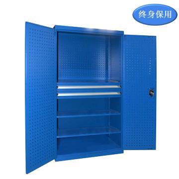Raxwell 蓝色双开门带挂板置物柜(三层板双抽),尺寸(长*宽*高mm):1000*600*1800,RHST0001
