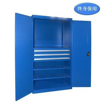 Raxwell 蓝色双开门带挂板置物柜(三层板三抽),尺寸(长*宽*高mm):1000*600*1800,RHST0003