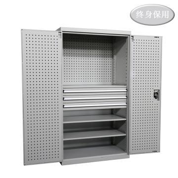Raxwell 灰色双开门带挂板置物柜(三层板三抽),尺寸(长*宽*高mm):1000*600*1800,RHST0004