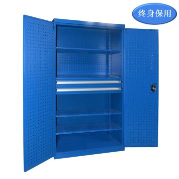 Raxwell 蓝色双开门带挂板置物柜(四层板双抽),尺寸(长*宽*高mm):1000*600*1800,RHST0007