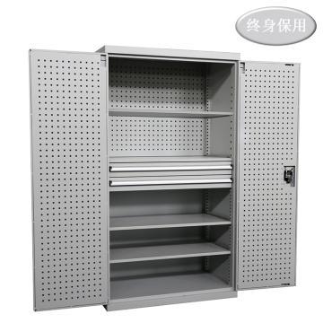 Raxwell 灰色双开门带挂板板置物柜(四层板双抽),尺寸(长*宽*高mm):1000*600*1800,RHST0008