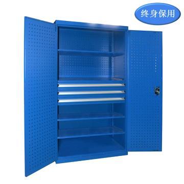 Raxwell 蓝色双开门带挂板置物柜(四层板三抽),尺寸(长*宽*高mm):1000*600*1800,RHST0009