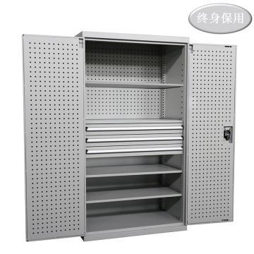 Raxwell 灰色双开门带挂板置物柜(四层板三抽),尺寸(长*宽*高mm):1000*600*1800,RHST0010