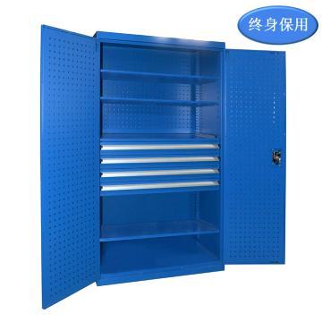 Raxwell 蓝色双开门带挂板置物柜(四层板四抽),尺寸(长*宽*高mm):1000*600*1800,RHST0011