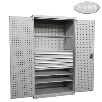 Raxwell 灰色双开门带挂板置物柜(四层板四抽),尺寸(长*宽*高mm):1000*600*1800,RHST0012
