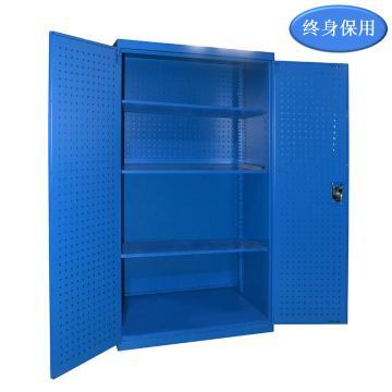 Raxwell 蓝色双开门带挂板置物柜(三层板),尺寸(长*宽*高mm):1000*600*1800,RHST0013