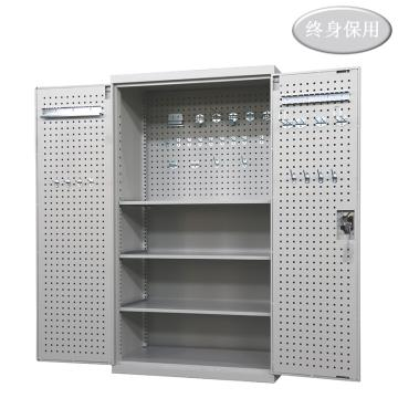Raxwell 灰色双开门带挂板置物柜(三层板),尺寸(长*宽*高mm):1000*600*1800,RHST0014