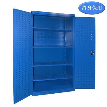 Raxwell 蓝色双开门带挂板置物柜(四层板),尺寸(长*宽*高mm):1000*600*1800,RHST0015