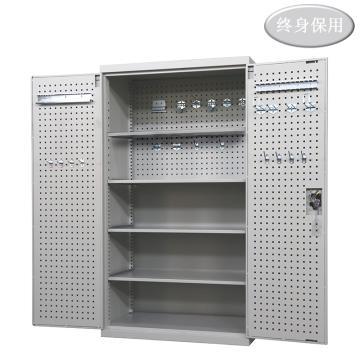 Raxwell 灰色双开门带挂板置物柜(四层板),尺寸(长*宽*高mm):1000*600*1800,RHST0016