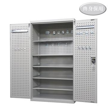 Raxwell 灰色双开门带挂板置物柜(五层板),尺寸(长*宽*高mm):1000*600*1800,RHST0018
