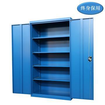Raxwell 蓝色双开门置物柜(四层板),尺寸(长*宽*高mm):1000*500*1800,RHST0021