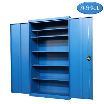 Raxwell 蓝色双开门置物柜(五层板),尺寸(长*宽*高mm):1000*500*1800,RHST0023
