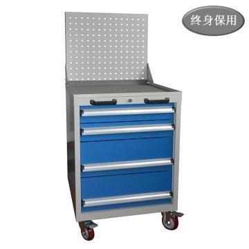 Raxwell 四抽标准可移动工具车(带挂板),尺寸(长*宽*高mm): 566*600*1315,RHTC0003