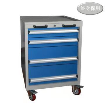 Raxwell 四抽标准可移动工具车,抽屉带物料盒分隔板,尺寸(长*宽*高mm): 566*600*835,RHTC0005