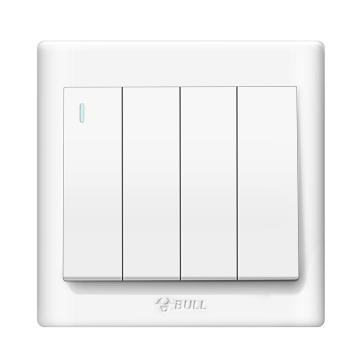 公牛/BULL 开关面板四位单极带荧光开关86型白色暗装四开单控,GN-G32K411