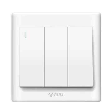 公牛/BULL 开关面板三位单极带荧光开关86型白色暗装三开单控,GN-G32K311