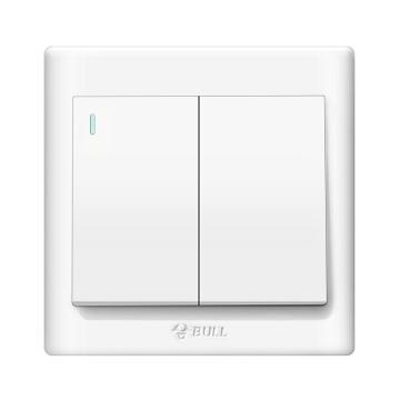 公牛/BULL 开关面板二位单极带荧光开关86型白色暗装二开单控,GN-G32K211