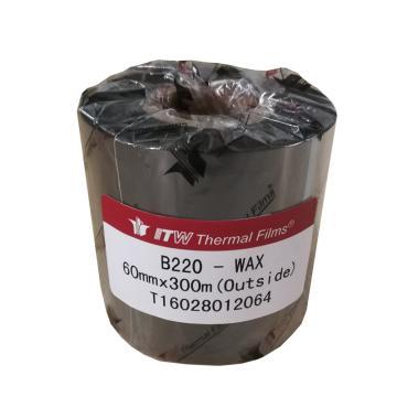 依工(ITW) B220 60mm*300M 蜡基碳带