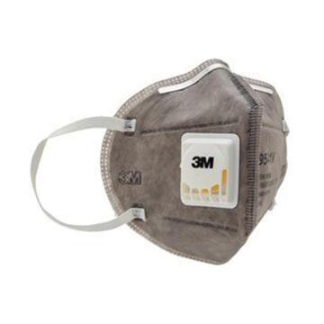 3M 防尘及有机气体口罩,9541V,KN95 折叠式活性炭口罩 带阀耳带式,20个/盒