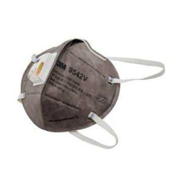 3M 防尘及有机气体口罩,9542V,KN95 折叠式活性炭口罩 带阀头带式,20个/盒