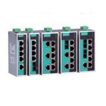 摩莎Moxa 8口非网管百兆工业以太网交换机含两个多模光口,EDS-208A-MM-ST