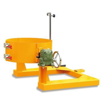 Raxwell 300Kg油桶翻转夹(叉车专用),手摇齿轮翻转机构 叉孔155*55mm,RMCM0017