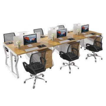 臻远 办公桌屏风桌员工蝴蝶腿办公六人位(含柜椅),3600*1200*750