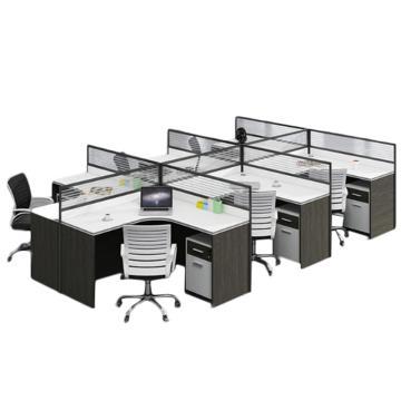 臻远 干字型六人位屏风桌,不含椅子,4200*2400*1100