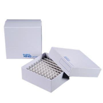 覆膜纸冷冻盒,3英寸,81格,白色,包膜,5个/包,20包/箱