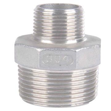 """Raxwell 不锈钢304六角异径外丝直接,1_1/2""""*1"""",DN40*DN25,PT螺纹"""