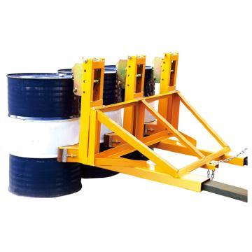 Raxwell 1500Kg加强型叼扣式油桶夹(500Kg*3桶单夹),叉孔152*54mm 两叉孔内间距670mm,RMCM0009
