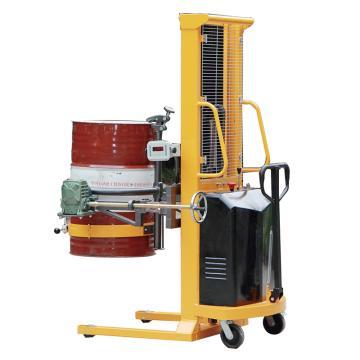 Raxwell 500Kg半电动夹抱式称重油桶车(电动起升+手摇翻转),称重精度±3‰ 行程1500mm,RHMC0077