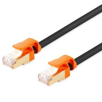 包尔星克Powersync 七类网线圆线 抗摇摆双屏蔽双绞(黑配橘)1米,CLN7GAR0010