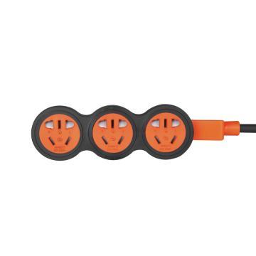 包尔星克Powersync 10A新国标抗摇摆工业级摔不烂插座 横向三位组合孔(黑配橘)10米,MPSBN3EF0100