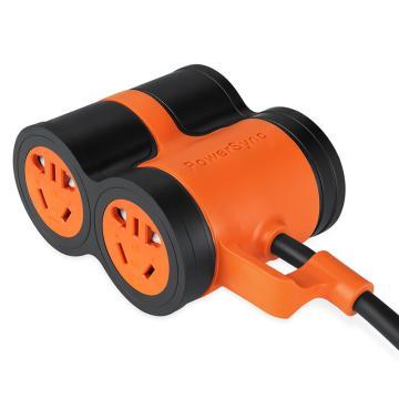包尔星克Powersync 10A抗摇摆 四位 摔不烂插座(黑配橘)10米,MPSBN4EN0100